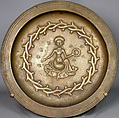 Plate with Seated Woman, Copper alloy, South Netherlandish