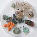 Beads, Various glass, copper alloy, coral, rock crystal, Coptic