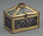 Reliquary Casket with Scenes from the Martyrdom of Saint Thomas Becket, Gilded silver with niello and a glass cabochon set over a tinted foil, British
