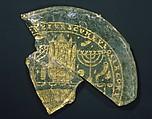 Bowl Fragments with Menorah, Shofar, and Torah Ark, Glass, gold leaf, Roman