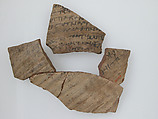 Ostrakon with a Letter to Epiphanius from His Mother, Pottery fragments with ink inscription, Coptic