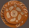 Fragmentary Platter with Fish and Rosettes, Terracotta decorated with red, white and dark brown slip, Coptic