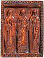 Icon with Three Church Fathers, Ivory with dark stain, Greek