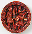 Game Piece with Samson Slaying the Philistines with the Jawbone of an Ass, Elephant ivory, red stain, German