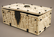Casket with Romance Scenes, Ivory with modern iron mounts, French