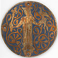 Medallion with a Queen Holding a Scepter and Falcon, Copper: engraved and gilt; champlevé enamel: medium and light blue and white, French
