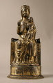 Virgin and Child, Copper-gilt, champlevé enamel, glass bead, French
