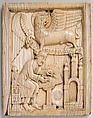 Evangelist Saint Mark writing the Gospel with his symbol, the Lion, holding a scroll, Ivory, German