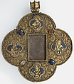 Quatrefoil Mount for a Medieval Ivory of the Crucifixion, Silver-gilt, champlevé enamel, glass and stone cabochon mount, European