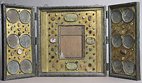 Triptych, Champlevé enamel, copper-gilt, silver, intaglios, cameos, textile on wood core, French