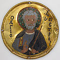 Medallion with Saint Peter from an Icon Frame, Gold, silver, and enamel worked in cloisonné, Byzantine