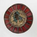 Disk Brooch, Silver-gilt, paste, gold leaf, remnant of iron pin, Frankish