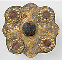 Disk Brooch, Copper alloy, with gold, glass paste, iron pin, European