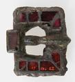 Flat Rectangular Buckle, Copper alloy, gilt (tongue); 1/2 silver-gilt iron with garnets (plaque), Frankish