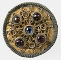 Disk Brooch, Copper alloy, coated with gold, garnets, sapphires cabochons, Frankish