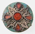 Disk Brooch, Copper alloy, silver wire, glass paste, Frankish or Northern French