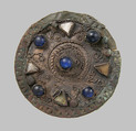 Disk Brooch, Silver, wire, glass paste, copper alloy core, cabochons, Frankish or Northern French
