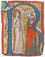 Manuscript Illumination with the Annunciation in an Initial R, from a Gradual, Tempera, ink and gold on parchment, Upper Rhenish