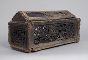 Coffret, Walnut, carved & lined with glass (some colored), Italian