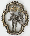 Pendant, Silver, partial gilt, garnets or red glass, German