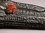 Case (étui) with an amorous inscription, Leather (Cuir bouilli), wood core, red cord, Italian
