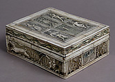 Game Box, Bone, traces of gilding and paint over wooden core with red silk  interior, metal mounts, French