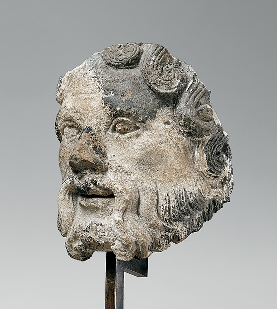 Head of a Bearded Man, Limestone, French