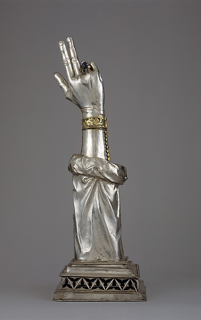 Reliquary Arm of St. Valentine, Silver, partial gilt, sapphire, Swiss