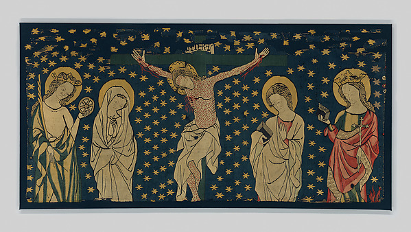 Crucifixion, Linen warp;  wool wefts, with the addition of wool and silk embroidery, German
