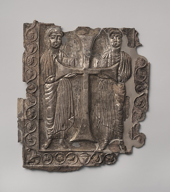Plaque with Two Saints, Silver, parcel gilt, Byzantine