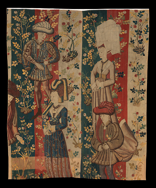 Courtiers in a Rose Garden: Two Ladies and Two Gentlemen, Wool warp, wool, silk, and metallic weft yarns, South Netherlandish
