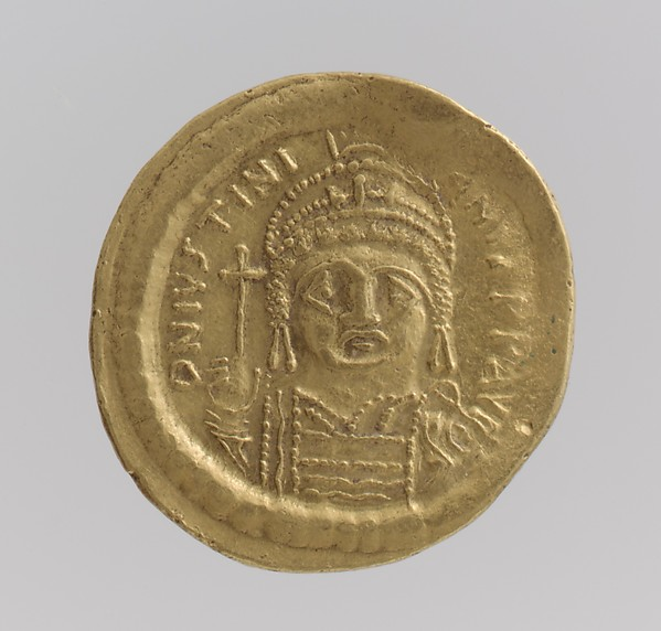 Gold Solidus of Justinian I (527–65), Gold, Byzantine
