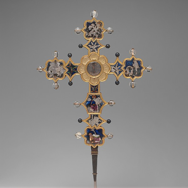 Reliquary Cross, Translucent enamel, silver, silver-gilt, rock crystal, glass, iron tang, Italian