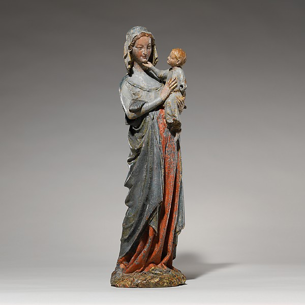 Devotional Statuette of the Virgin and Child, Oak, modern paint, French