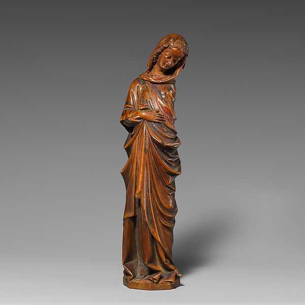 Virgin of the Annunciation, Walnut with traces of paint, originally painted, North French School