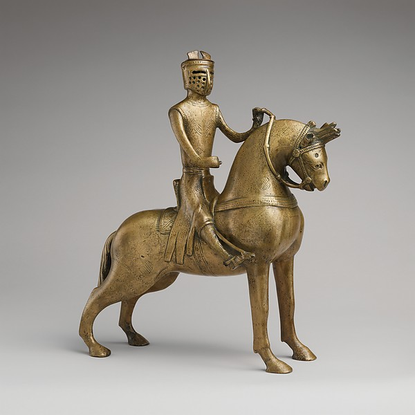 Aquamanile in the Form of a Mounted Knight, Copper alloy, German