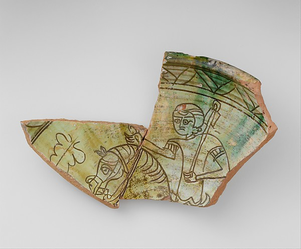 Fragment Of A Bowl With Horse And Rider Terracotta Green Glaze Over Slip