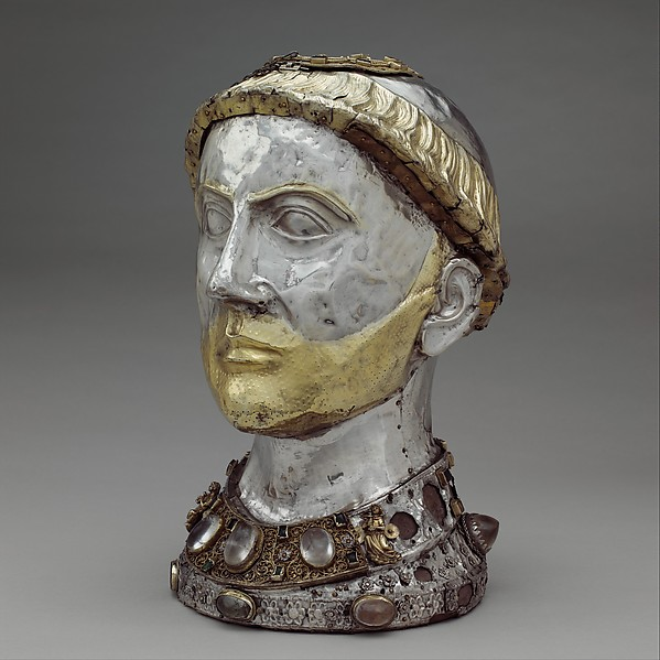 Reliquary Bust of Saint Yrieix, Silver and gilded silver with rock crystal, gems, and glass, French