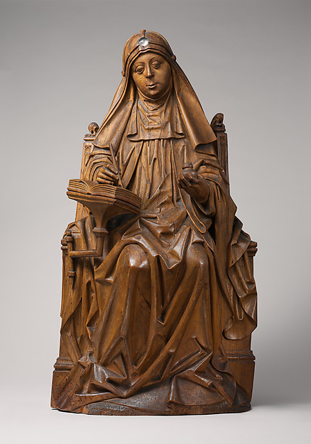 Saint Bridget of Sweden, Master of Soeterbeeck (active ca. 1470–80), Walnut, rock crystal cabochon. Originally painted., South Netherlandish