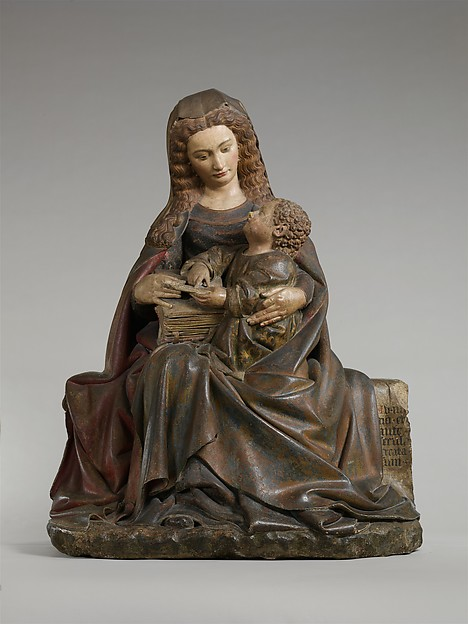Virgin and Child, Attributed to Claus de Werve (Netherlandish, active in France, ca. 1380–1439, active Burgundy, 1396–ca. 1439), Limestone with paint and gilding, French