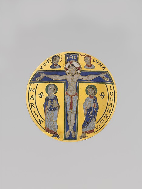 The Crucifixion, Gilded copper, cloisonné and champlevé enamel, French