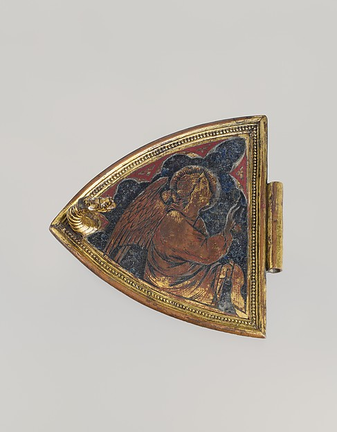 Angel from the Lid of an Incense Boat, Gilded copper, champlevé enamel, Italian