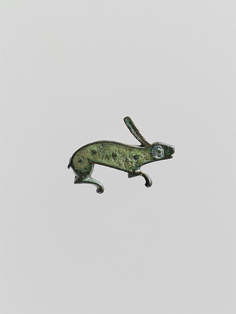 Brooch in the Form of a Rabbit, Copper alloy with champlevé enamel, Roman