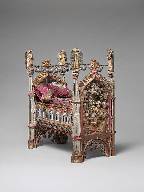 Crib of the Infant Jesus, Wood, polychromy, lead, silver-gilt, painted parchment, silk embroidery with seed pearls, gold thread, translucent enamels, South Netherlandish
