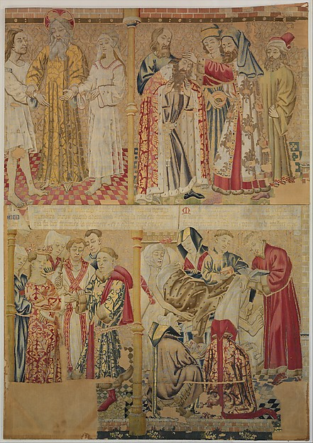 Scenes from the Story of the Seven Sacraments, God the Father Uniting Adam and Eve, and David Being Annoited King at Hebron, Wool warp, wool and silk wefts, South Netherlandish