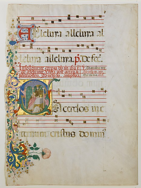 Manuscript Leaf with the Celebration of a Mass in an Initial S, from an Antiphonary, Master of the Riccardiana Lactantius, Tempera, ink, and gold on parchment, Italian