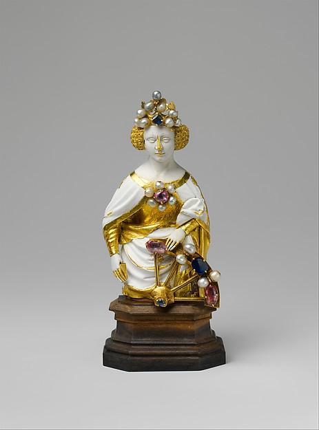 Saint Catherine of Alexandria, Gold, ronde-basse enamel, jewels, French