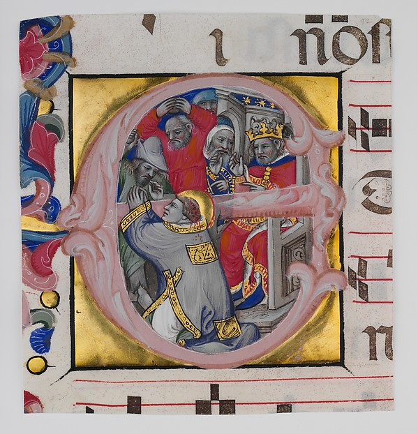 Manuscript Illumination with the Martyrdom of Saint Stephen in an Initial E, from a Gradual, Niccolò di Giacomo da Bologna (Italian, Bologna, active 1349–1403), Tempera, gold, and ink on parchment, Italian