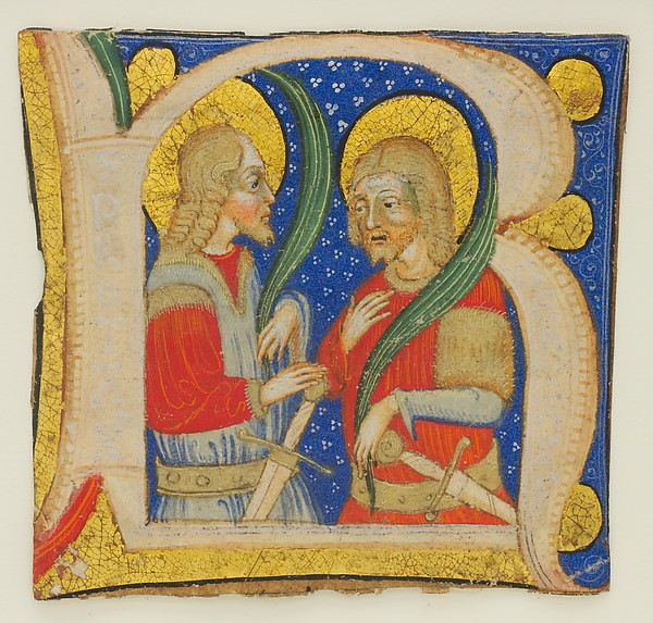 Manuscript Leaf Cutting Showing an Illumiated Initial R with St. Protasius and St. Gervasius, Olivetan Master (Italian, active Milan, ca. 1425–ca. 1450), Tempera, gold, and ink on parchment, Italian