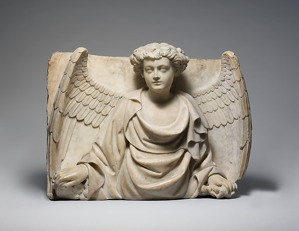 Relief with Half Figure of an Angel, Marble (Lunense marble from Carrara), North Italian